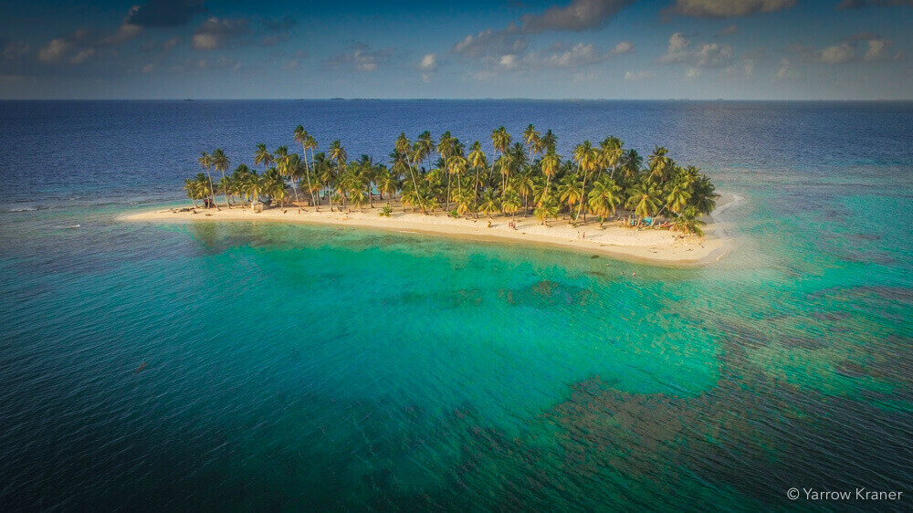 Isla iguana in the San Blas islands taken with a drone from above