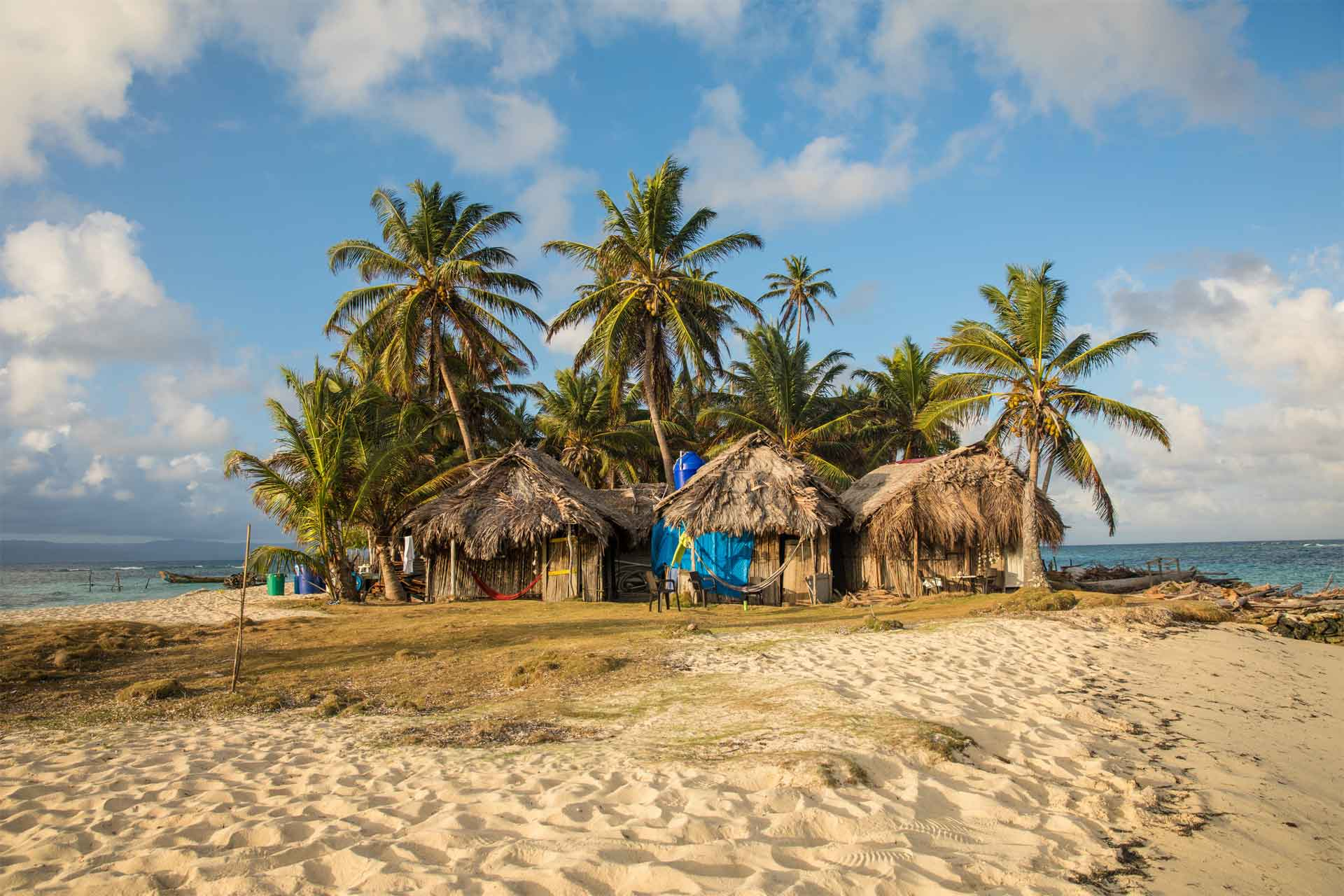 11An island in the San Blas Islands Panama with traditional Cabins